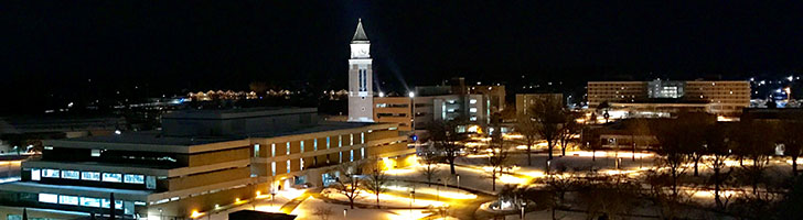 aerial photo of O U campus at night